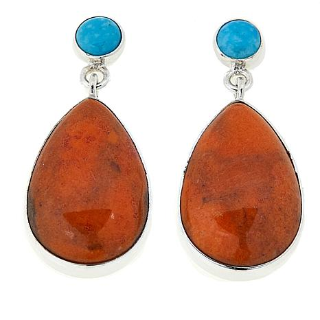 Jay King Turquoise and Orange Coral Drop Sterling Silver Earrings