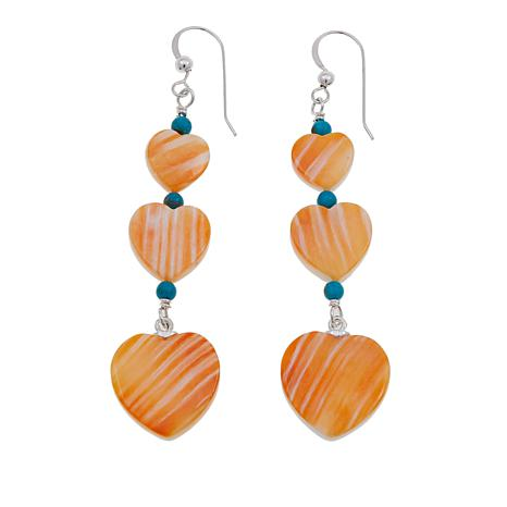 Jay King Turquoise and Orange Spiny Oyster Shell Heart Earrings
