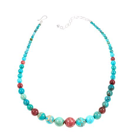 "Jay King Turquoise and Pink Thulite 18-1/4"" Necklace"