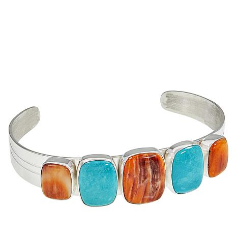 Jay King Turquoise and Spiny Oyster Shell Cuff Bracelet