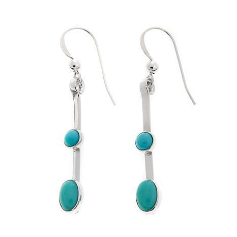 Jay King Turquoise Bar Drop Sterling Silver Earrings