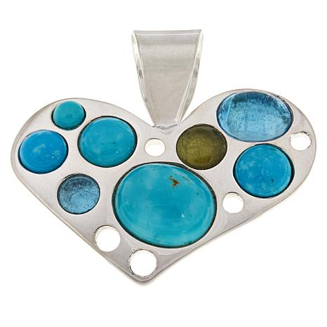 Jay King Turquoise, Blue Topaz and Peridot Heart Pendant