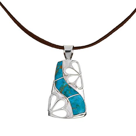 "Jay King Turquoise Inlay Pendant with 17-3/4"" Brown Suede Necklace"
