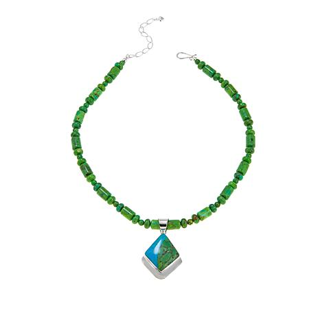 Jay King Turquoise Sterling Silver Pendant and Beaded Necklace