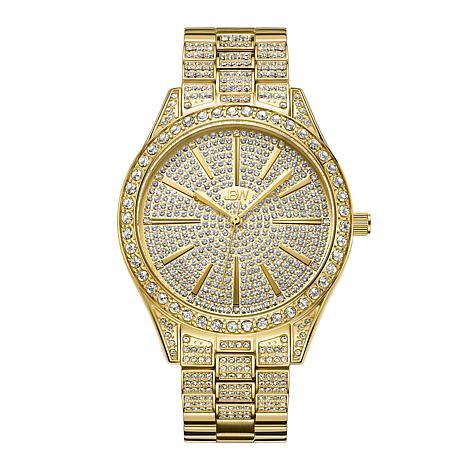 JBW Cristal 18K Gold-Plated Diamond and Crystal Bracelet Watch