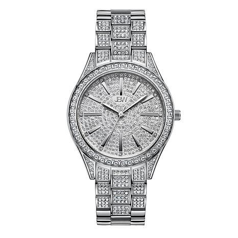 Jbw Cristal Women S Silvertone 12 Diamond Bracelet Watch