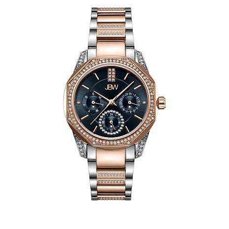 "JBW ""Marquis"" Women's Rosetone and Silvertone 5-Diamond Watch"
