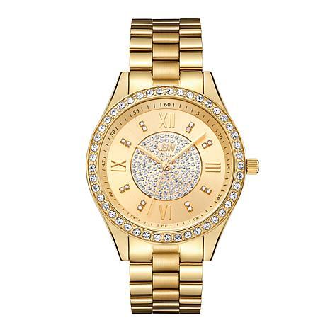 JBW Mondrian 18K Gold-Plated Diamond and Crystal Bracelet Watch