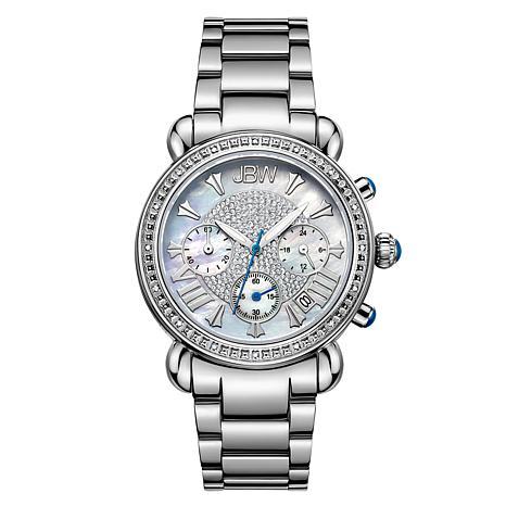 JBW Victory Stainless Steel Diamond Chronograph Bracelet Watch