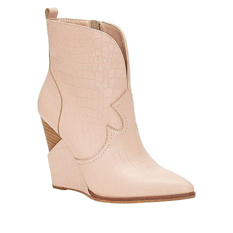 Jessica Simpson Hilrie Leather Pointed Toe Wedge Bootie