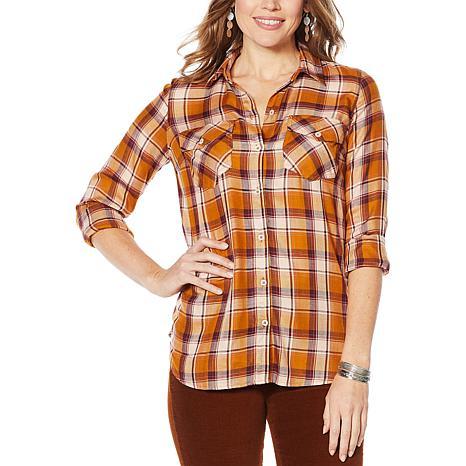 Jessica Simpson Petunia Button-Down Plaid Shirt