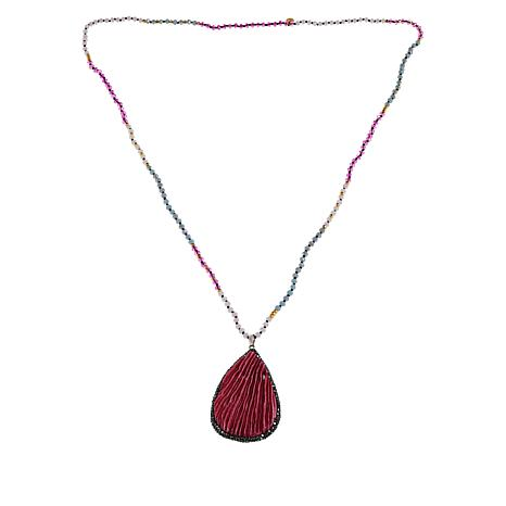 "JK NY 36"" Shaved Coral Beaded Pendant Necklace"