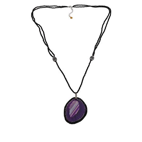 JK NY Colored Agate Slice Double-Row Drop Necklace