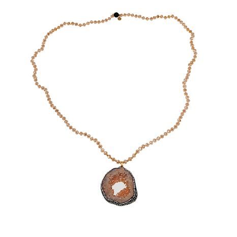 JK NY Colored Agate Slice Pendant with Faceted Bead Necklace
