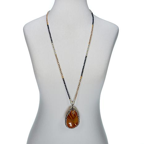 JK NY Orange Agate Slice Pendant with Faceted Bead Necklace