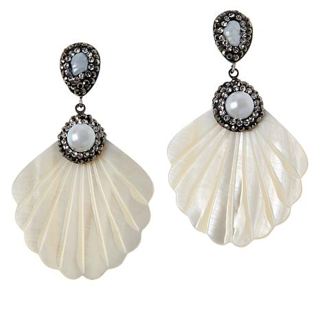 JK NY Pavé Stone Simulated Shell Fan Earrings