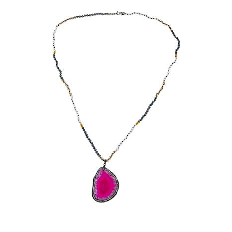 JK NY Purple-Pink Agate Slice Pendant with Faceted Bead Necklace