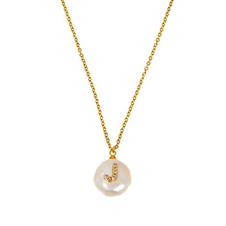 JK NY  Simulated Pearl Initial Pendant Necklace
