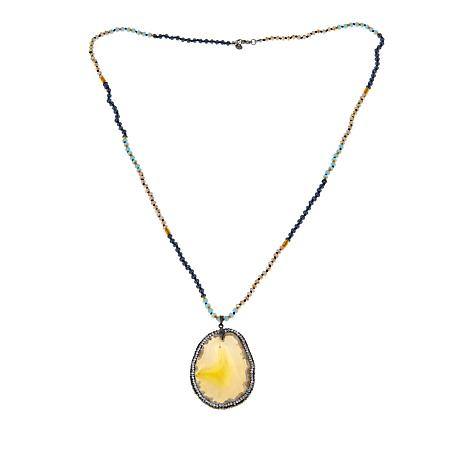 JK NY Yellow Agate Slice Pendant with Faceted Bead Necklace