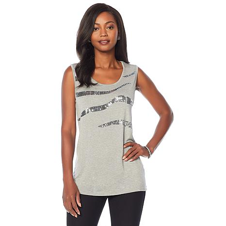 Joan Boyce 2-pack Sequin Slash Tank Top