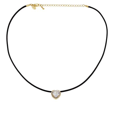 Joan Boyce Cubic Zirconia and Crystal Heart Cord Necklace