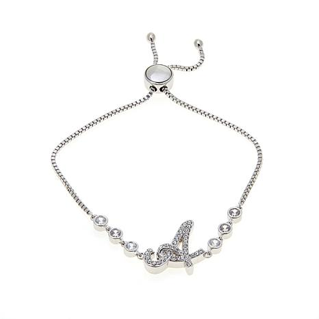 """Joan Boyce Katie's """"All in a Name"""" CZ and Crystal Adjustable Bracelet"""