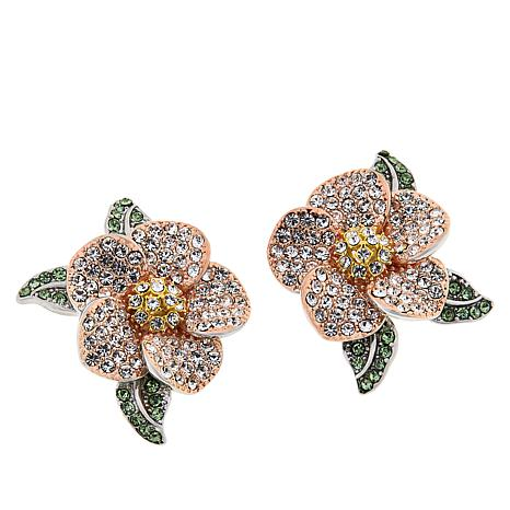 Joan Boyce Multi Color Crystal Pavé Flower Stud Earrings
