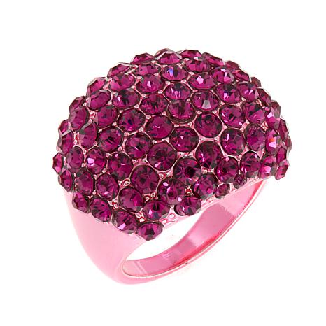 "Joan Boyce ""Passionate in Pink"" Crystal Metallic Pink Pavé Dome Ring"