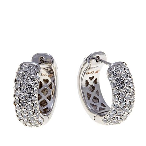 Joan Boyce Pee Pavé Perfection Crystal Hugger Hoop Earrings