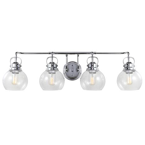 "JONATHAN Y Chrome Shirley 34"" 4-light Metal Bubbled Glass Vanity Light"