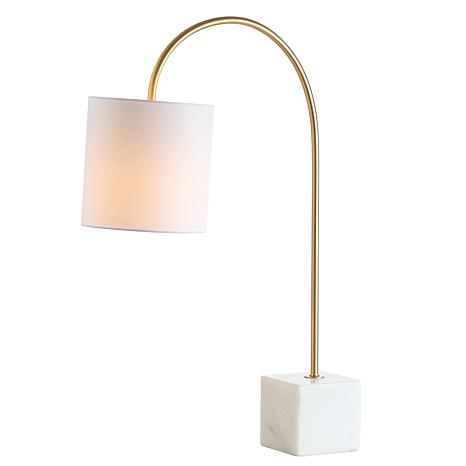 """JONATHAN Y Fisher 25"""" Marble and Brass LED Table Lamp"""