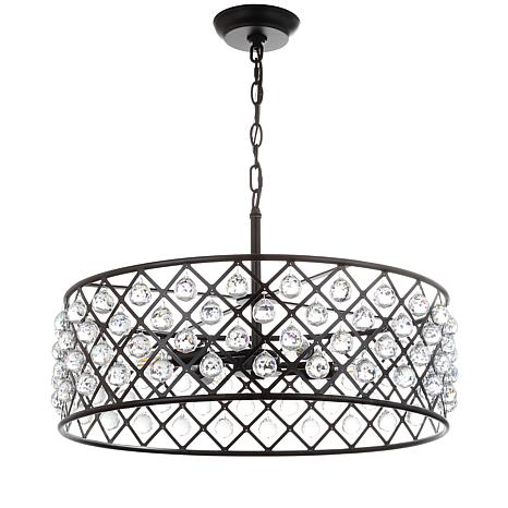 "JONATHAN Y Oil-Rubbed Bronze Gabrielle 23"" Crystal Metal LED Pendant"