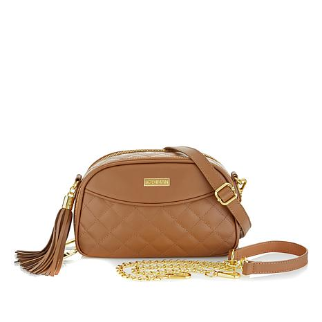Joy Iman Diamond Quilted Genuine Leather Crossbody With Rfid