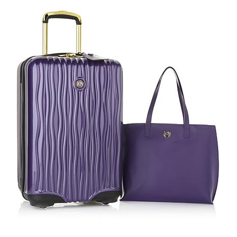 41abd578754a JOY E Lite Couture Hardside Luggage with Luxe Leather Handbag ...