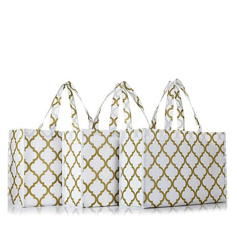 JOY Huggable Hangers® Set of 3 Metallic Print Tote Bags - Brass