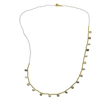 "Joya 32"" Goldtone Labradorite and Pyrite Beaded Necklace"