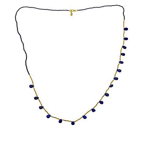 """Joya 32"""" Goldtone Lapis and Pyrite Beaded Necklace"""