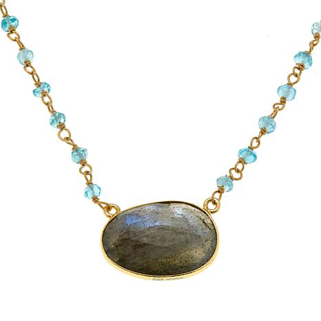 "Joya Elli Labradorite and Chalcedony Goldtone 17-1/4"" Necklace"