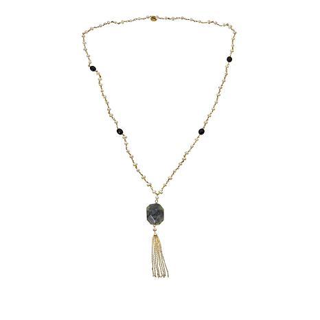 Joya Goldtone Labradorite, Onyx and Pearl Tassel Necklace