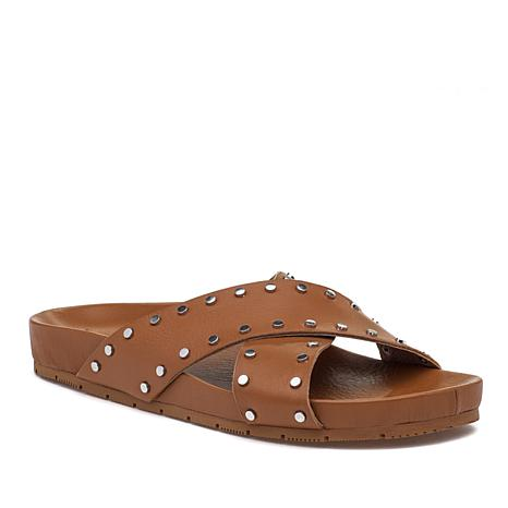 J/Slides NYC Ellie Studded Leather Crossband Sandal