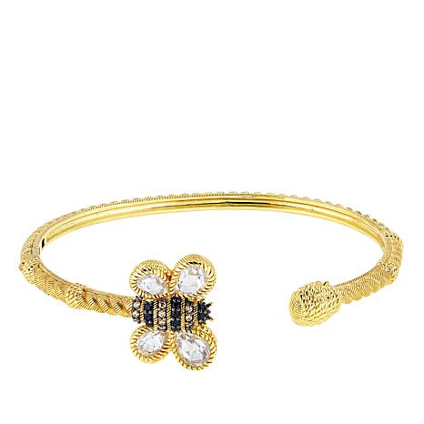 Judith Ripka 14K Gold-Clad Barbara Bumble Bee Multigem Cuff Bracelet