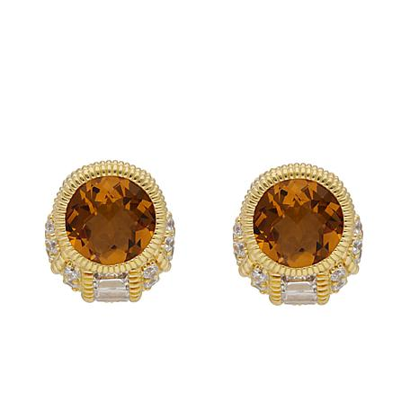 Judith Ripka 14K Gold Clad Citrine and Diamonique® Earrings