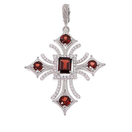 Judith Ripka 4.40ctw Garnet and Diamonique® Cross Enhancer Pendant