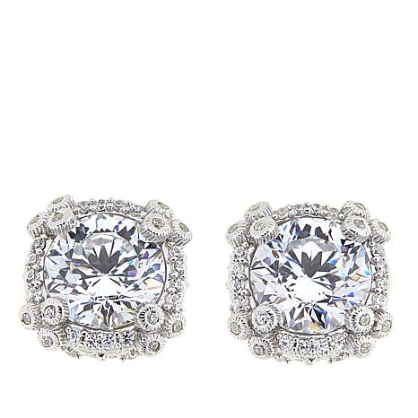 Judith Ripka 4 60ctw Diamonique Sterling Silver Stud Earrings