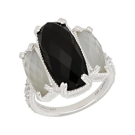 Judith Ripka Sterling Onyx, Mother-of-Pearl and Diamonique® Ring