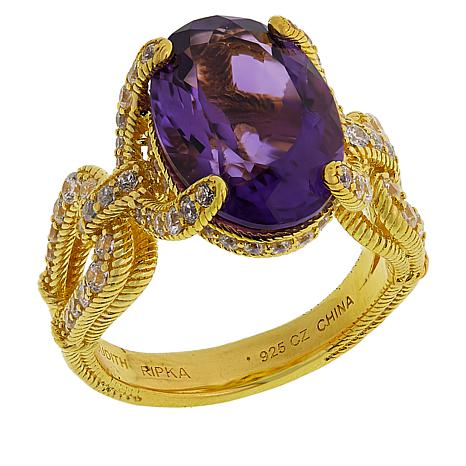 Judith Ripka Sterling Silver Amethyst and Diamonique® Ring