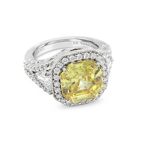 Judith Ripka Sterling Silver Asscher-Cut Canary Diamonique® Ring