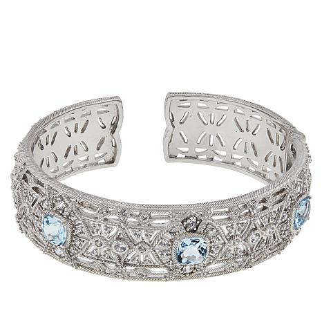 47ff7125fc9 Judith Ripka Sterling Silver Blue Topaz and Diamonique® Cuff Bracelet -  8949874 | HSN