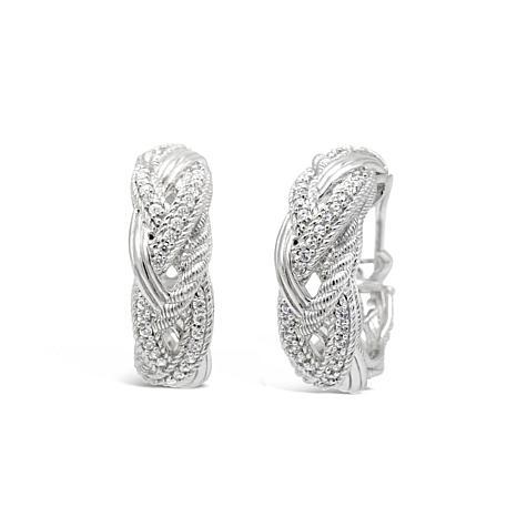 Judith Ripka Sterling Silver Diamonique® Braided Hoop Earrings