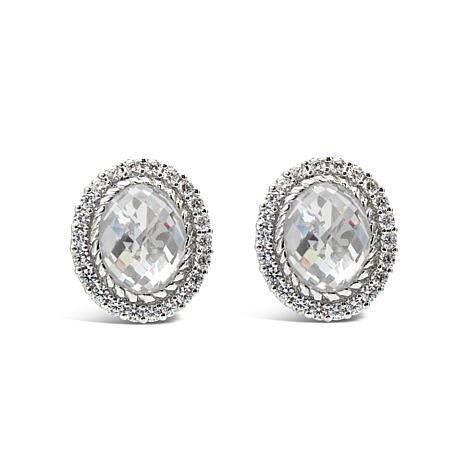 Judith Ripka Sterling Silver Diamonique® Oval Button Earrings